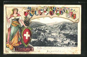 Präge-AK Baden, Panoramablick auf die Stadt, Helvetia mit Schild und Speer
