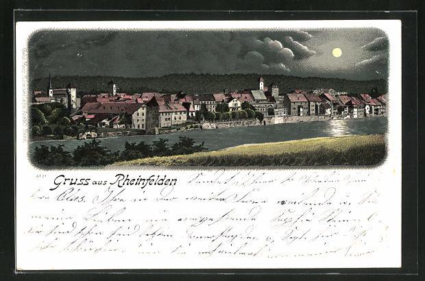 Mondschein-Lithographie Rheinfelden, Blick über den Rhein auf den Ort