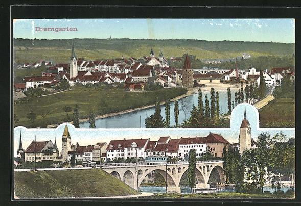 AK Bremgarten, Teilansicht u. Ortspartie mit Brücke