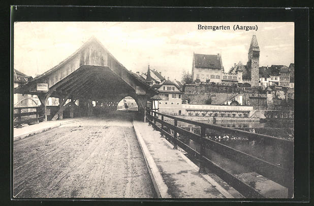 AK Bremgarten, Ortspartie mit Brücke