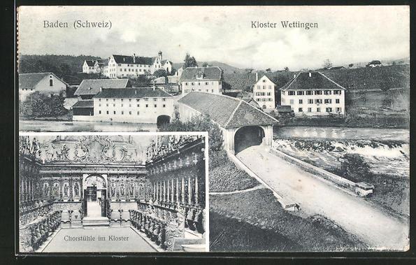 AK Baden, Koster Wettingen, Innenansicht Chorstühle im Kloster
