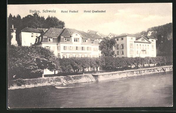 AK Baden, Hotel Freihof u. Hotel Quellenhof