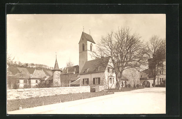 AK Brugg, Strassenpartie mit Kirche