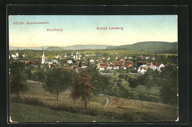 AK Seon, Gesamtansicht mit Stauffberg und Schloss Lenzburg