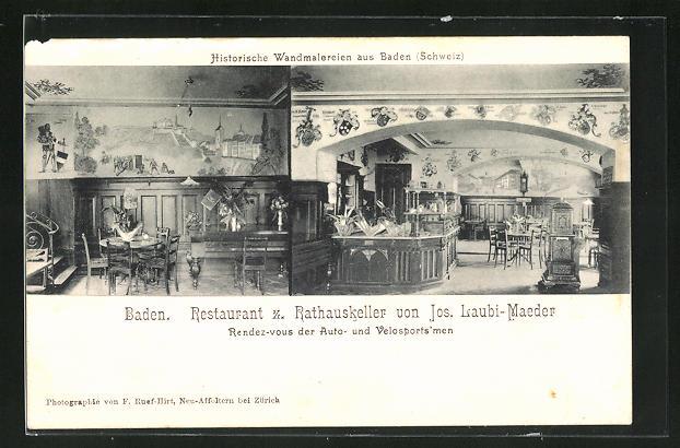 AK Baden, Restaurant z. Rathauskeller von Laubi-Maeder, Innenansichten Gasträume