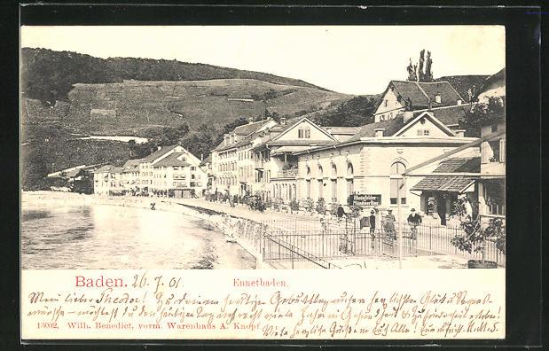 AK Baden-Ennetbaden, Ortspartie am Ufer