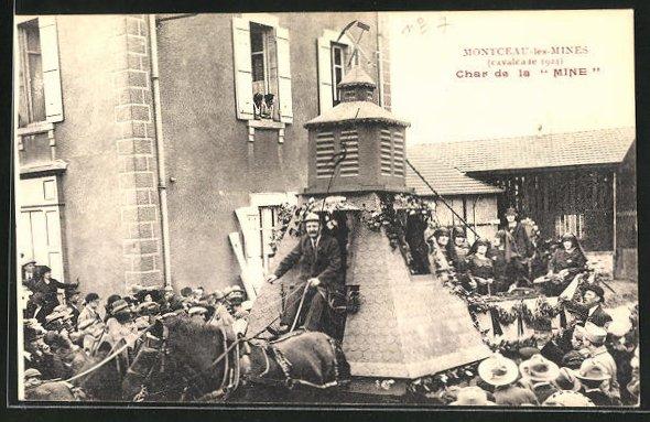 AK Montceau-les-Mines, Cavalcade 1924, Char de la Mine, Karneval