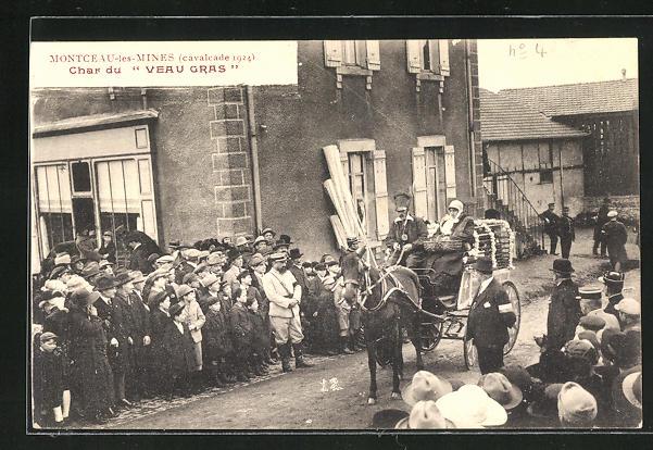 AK Montceau-les-Mines, Cavalcade 1924, Char du Veau Gras, Karneval