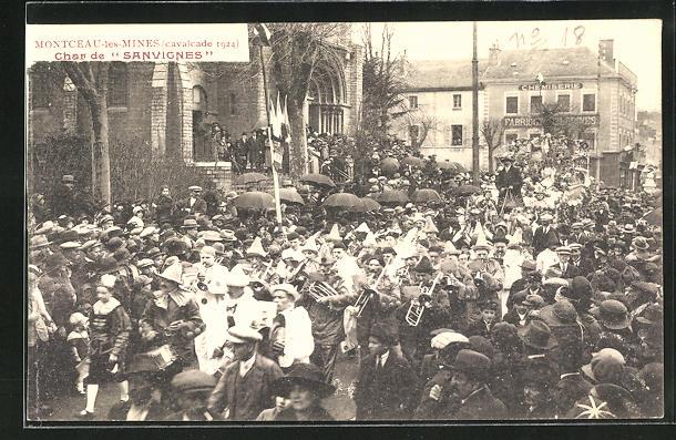 AK Montceau-les-Mines, Cavalcade 1924, Char de Sanvignes, Karneval