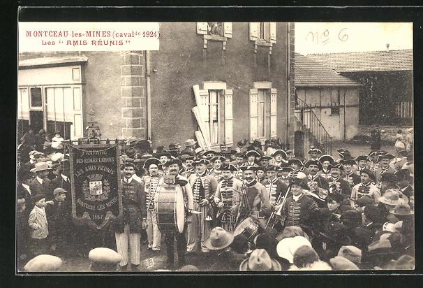 AK Montceau-les-Mines, Cavalcade 1924, Les Amis Réunis, Karneval, Spielmannszug