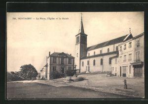 AK Montagny, La Place, l`Eglise et la Mairie