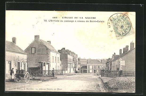 AK Saint-Calais, l`arrivee au passage a niveau de Saint-Calais, Circuit de la Sarthe 1906