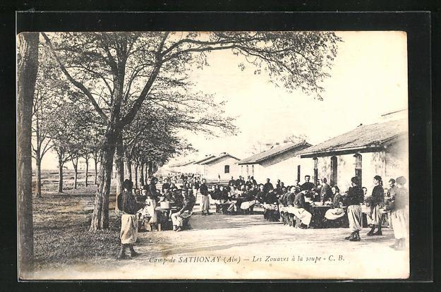 AK Sathonay, Camp de Sathonay, Les Zouaves a la Soupe