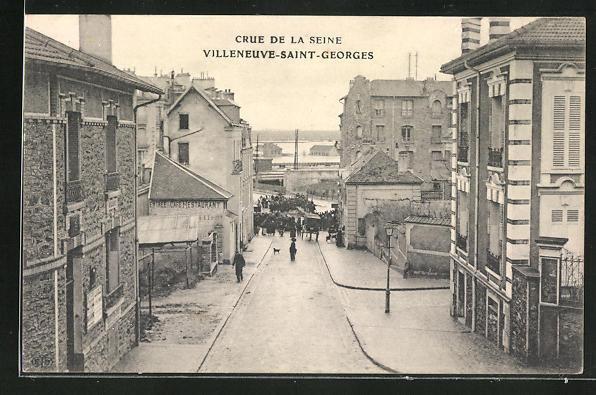 AK Villeneuve-Saint-Georges, Crue de la Seine