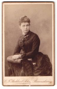 Fotografie C. F. Beddies & Sohn, Braunschweig, Portrait Dame in Rock mit Tournüre