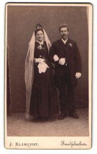 Fotografie J. Klarqvist, Smedjebacken, Portrait Braut und Bräutigam, Hochzeit