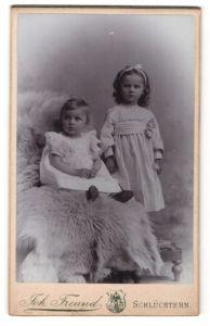 Fotografie Joh. Freund, Schlüchtern, Portrait Kleinkind und ältere Schwester