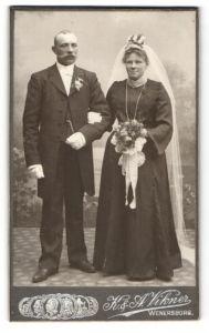 Fotografie K. & A. Vikner, Wenersborg, Portrait Braut und Bräutigam, Hochzeit