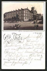 Vorläufer-Lithographie Thale, 1894, Ansicht vom Hotel Zehnpfund