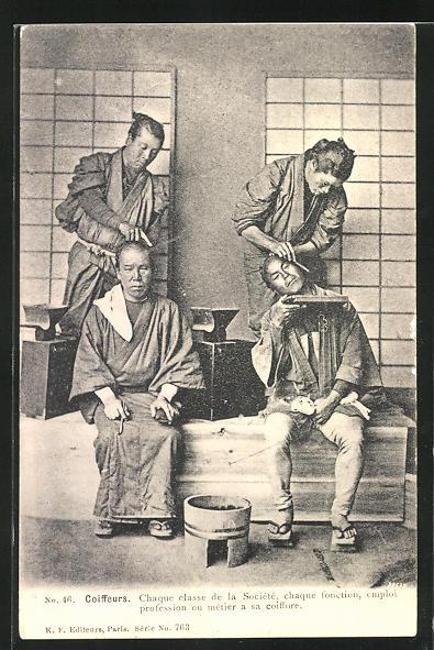 AK Coiffeurs, Chaque classe de la Société a sa coiffure, Chinesen beim Friseur