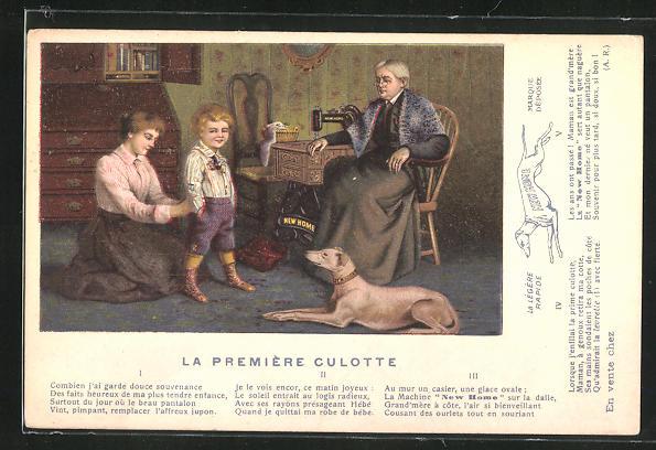 AK La Première Culotte, Reklame für New Home Nähmaschinen
