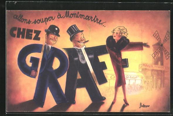 Künstler-AK sign. Pierre Bellenger: Paris-Montmartre, Restaurant Chez Graff, 92 Boulevard de Clichy, Art Deco