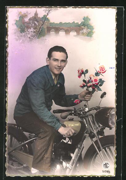 AK Rosenkavalier auf seinem Motoconfort-Motorrad