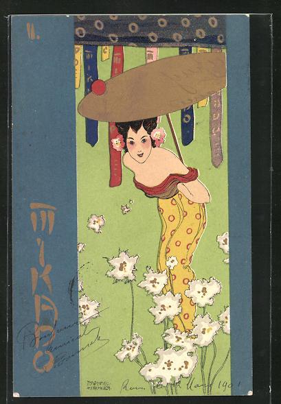 Künstler-AK Raphael Kirchner: Mikado, Japanerin im schulterfreien Kleid mit Sonnenschirm