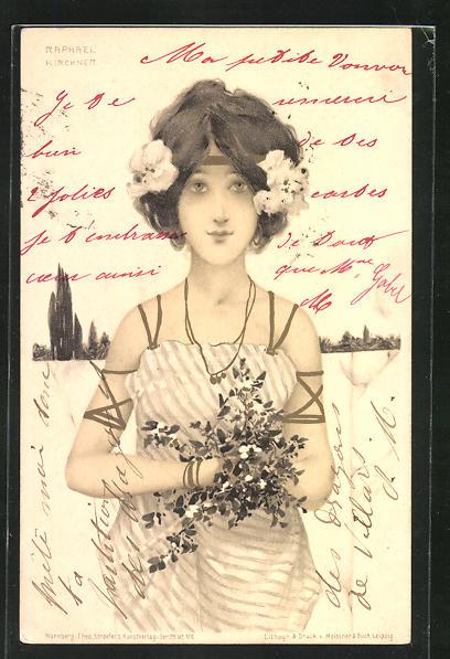 Künstler-AK Raphael Kirchner: Hübsches Mädchen im schulterfreien Kleid mit Blumen im Haar