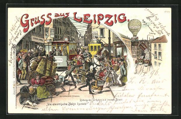 1900 Leipziger Elektrische Straßenbahn Ansichtskarte