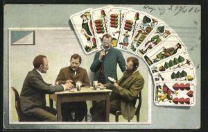 AK Drei Männer beim Kartenspiel und ein interessierter Zuschauer, Hand beim Skat