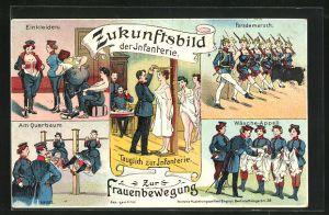 AK Zukunftbild der Infanterie, Frauen bei der Armee, Wäsche-Appell, Einkleiden