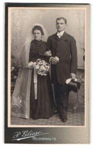 Fotografie P. Gliese, Reichenau i/S, Portrait Braut und Bräutigam, Hochzeit
