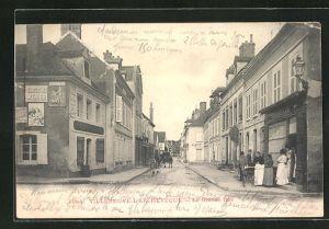 AK Villeneuve-L`Archeveque, La Grande Rue & Restaurant