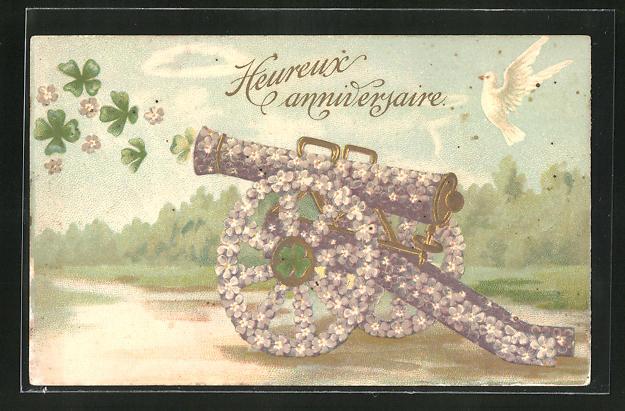Präge-AK Kanone aus Veilchen verschiesst Glücksklee, Blumenbild