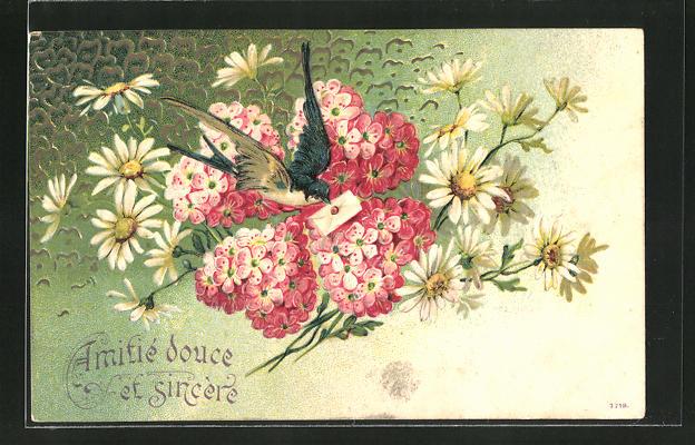 Präge Ak Schwalbe Bringt Brief Herzen Aus Roten Blüten Zwischen Weissen Margeriten Blumenbild
