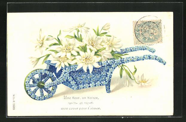 Leporello-Präge-AK Schubkarre aus blauen Blüten hat Edelweiss geladen, Blumenbild