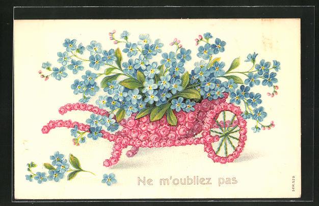 Präge-AK Schubkarre aus roten Rosen mit einer Ladung Veilchen, Blumenbild