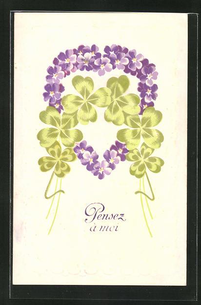 Präge-AK Herz aus Veilchen mit Glücksklee, Blumenbild