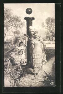 AK Der Buchstabe I als Baum, Frau mit Kindern im Park