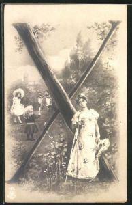 AK Der Buchstabe X als Baum, Frau mit Kindern im Park