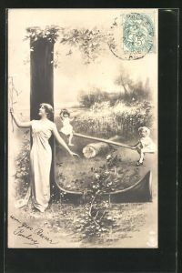 AK Der Buchstabe L als Baum, Frau mit einer Blume und Kindern auf der Wippe im Park