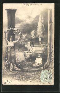 AK Der Buchstabe U als Baum, Frau mit Blumen und Kindern im Park