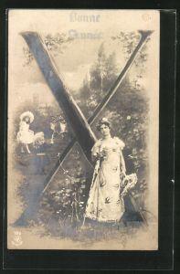 AK Der Buchstabe X als Baum, Frau mit Korb und Kindern im Park