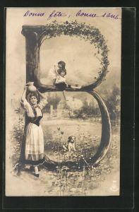 AK Der Buchstabe B als Baum, Frau mit einem Krug auf dem Kopf und Kindern im Park