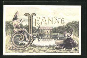 AK Mädchen beim Musizieren und Blumen pflücken, Glückwunsch zum Namenstag Jeanne