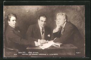 Künstler-AK Opernsänger Caruso, Chalapine und Titta Ruffo, Portrait von Tadé Styka, Salon 1913