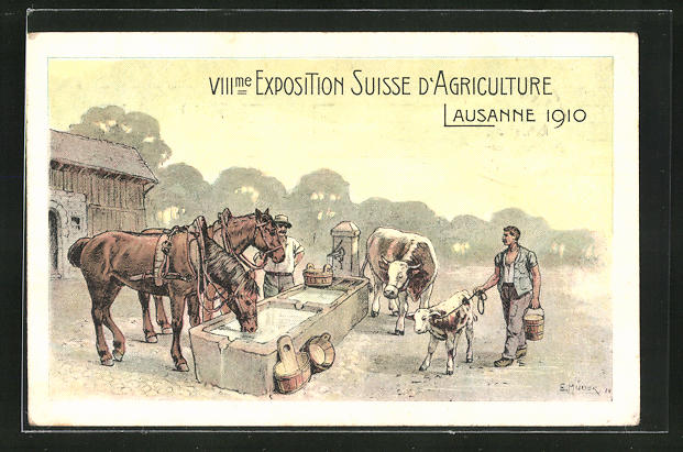 Künstler-AK Lausanne, VIII. Exposition Suisse d`Agriculture 1910, Landwirtschafts-Ausstellung 1910