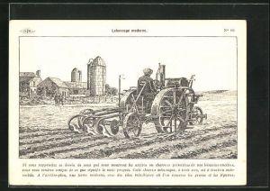 Künstler-AK Bauer beim Pflügen seines Feldes mithilfe eines Traktors