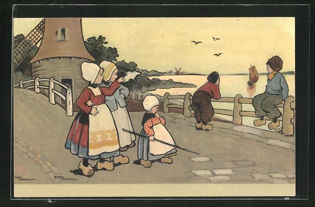 Künstler-AK Ethel Parkinson: niederländische Kinder am Wasser, Windmühle